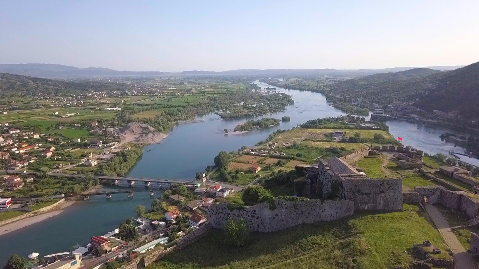 Shkodra-Burg-Rozafa-Luftaufnahme